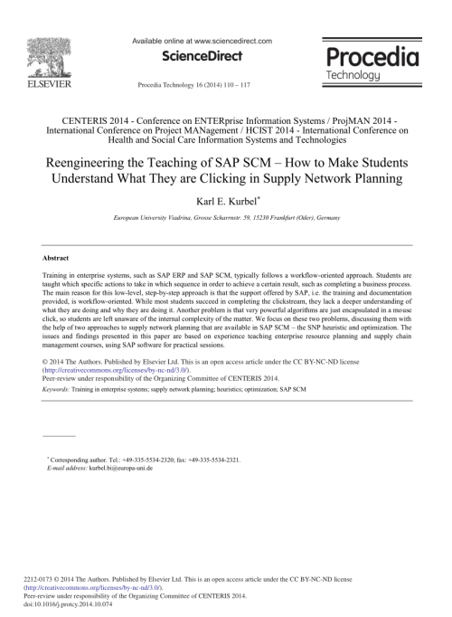 small resolution of  pdf reengineering the teaching of sap scm how to make students understand what they are clicking in supply network planning