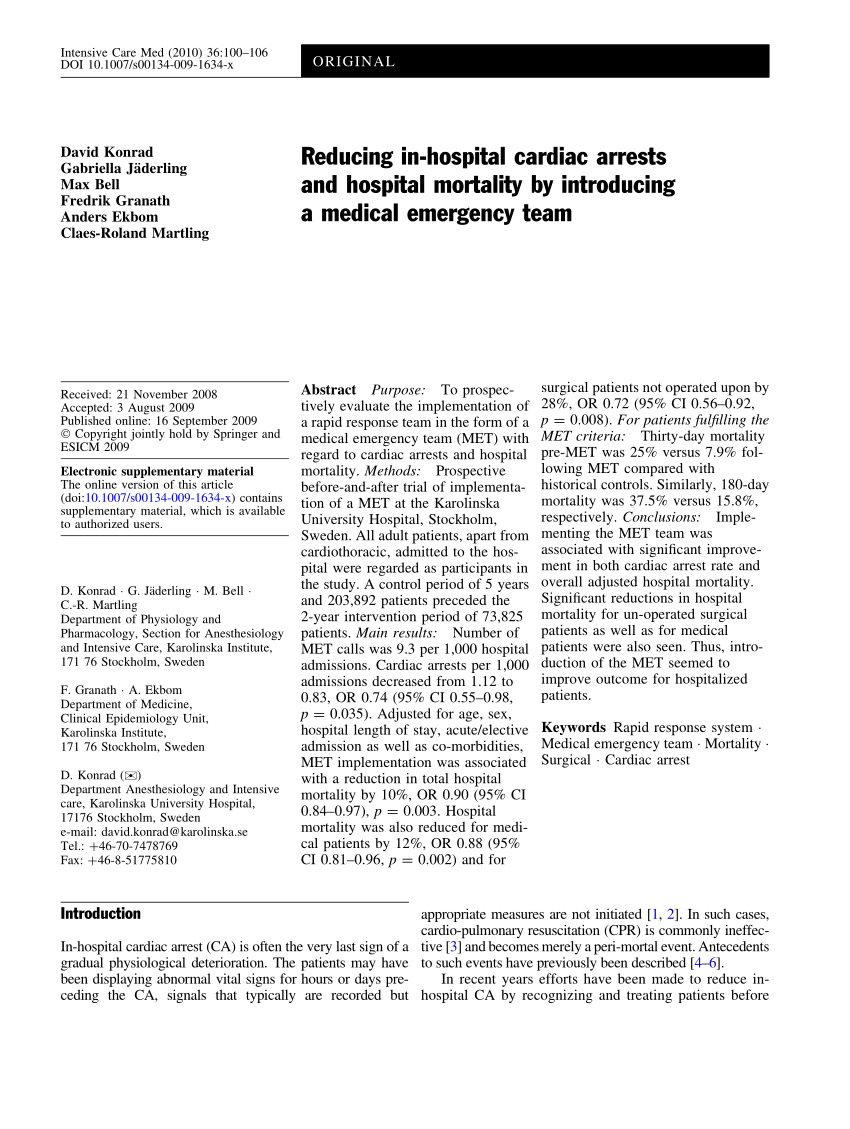 (PDF) Reducing in-hospital cardiac arrests and hospital