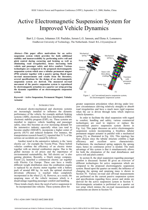small resolution of  pdf active electromagnetic suspension system for improved vehicle dynamics