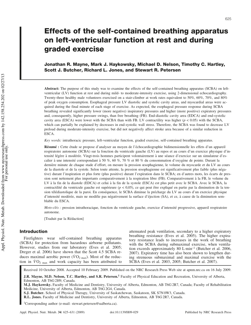 hight resolution of  pdf effects of the self contained breathing apparatus on left ventricular function at rest and during graded exercise