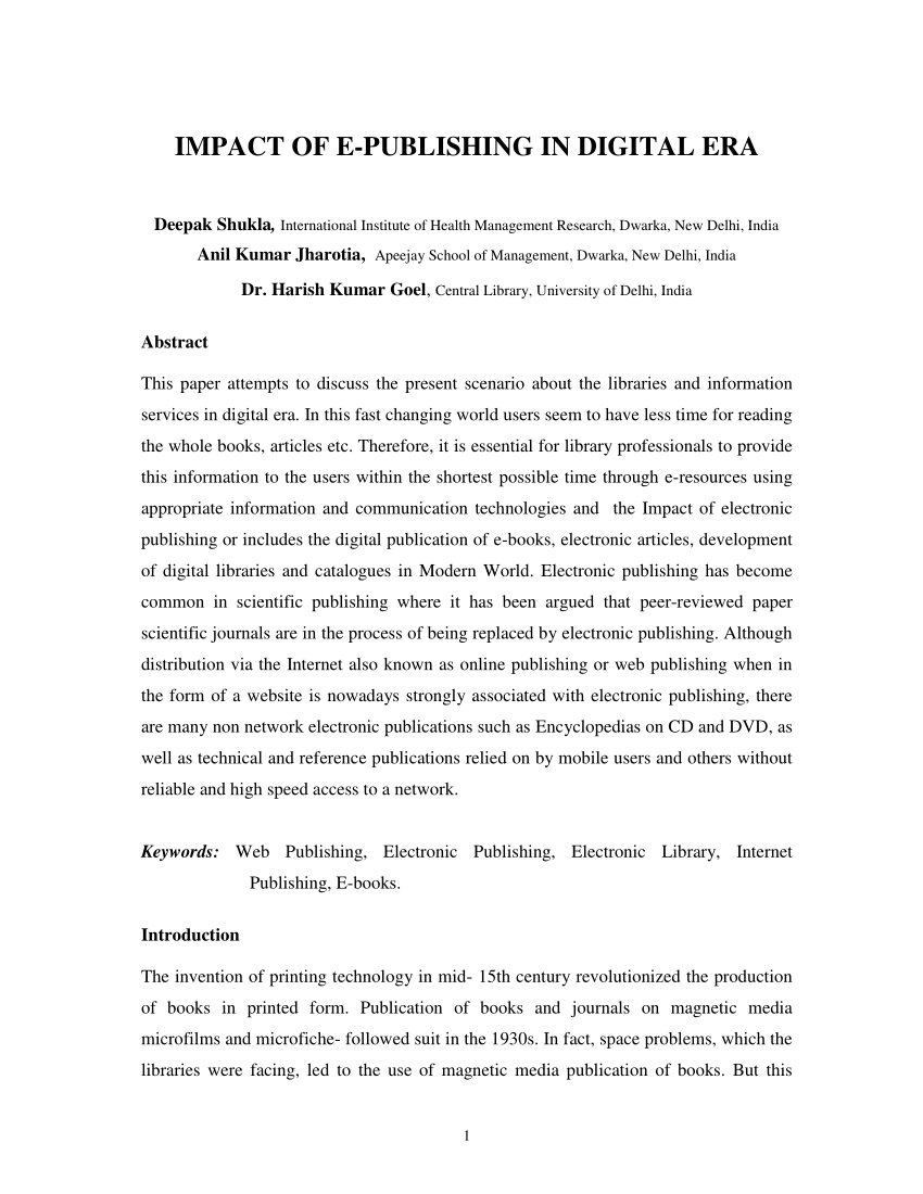 medium resolution of  pdf impact of e publishing in digital era