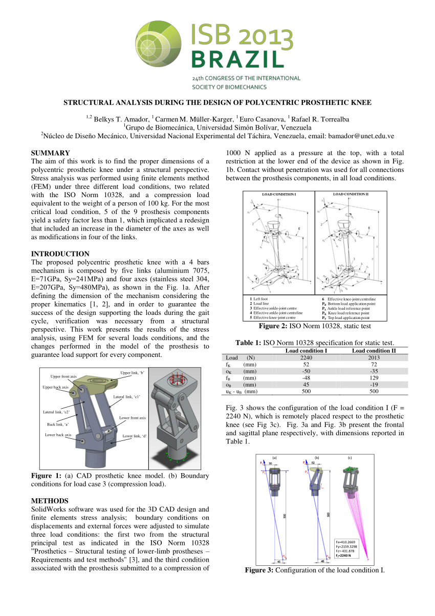 hight resolution of  pdf structural analysis during the design of polycentric prosthetic knee