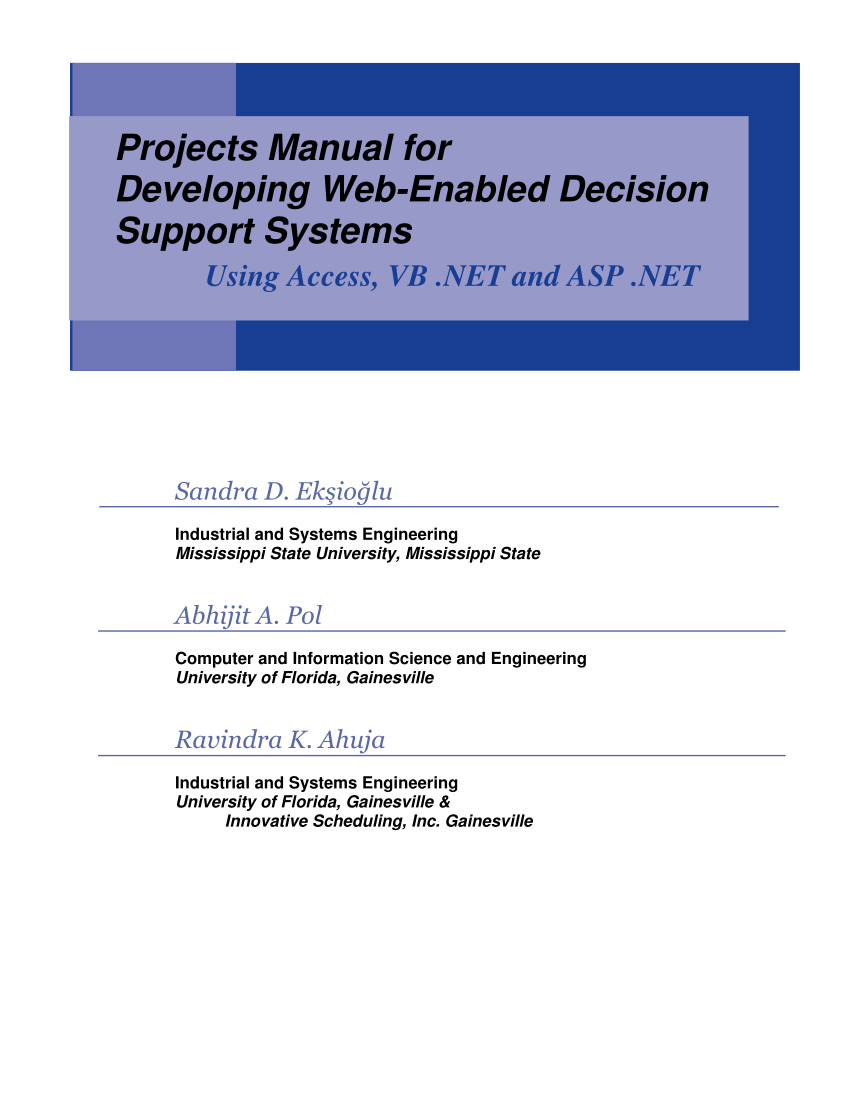 hight resolution of  pdf projects manual for developing web enabled decision support systems