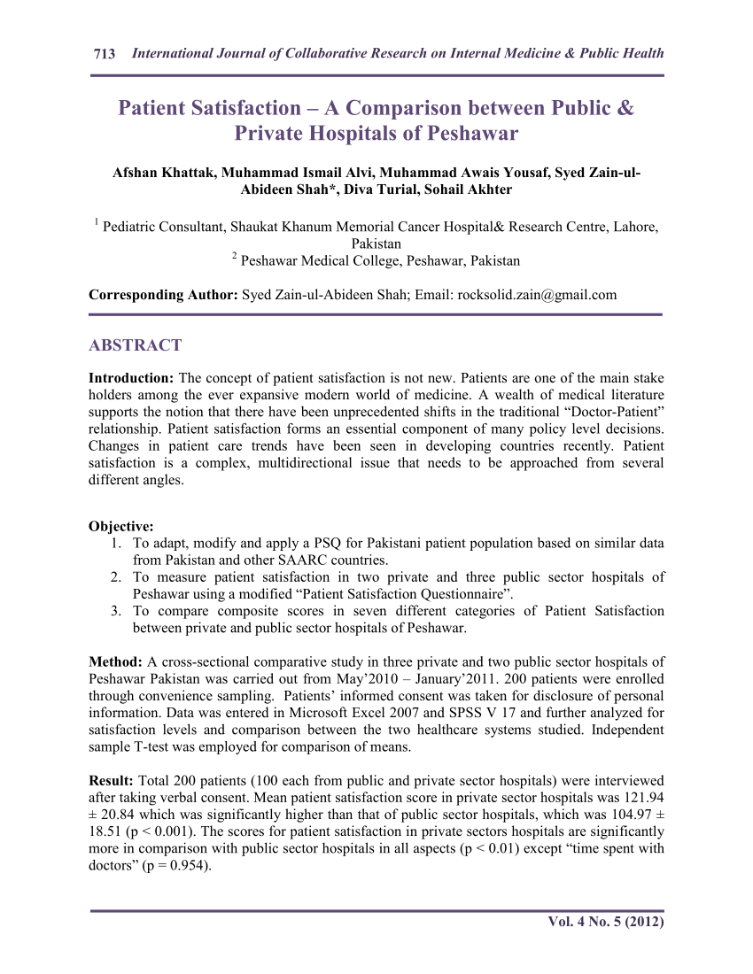 (Pdf) Patient Satisfaction – A Comparison Between Public & Private  Hospitals Of Peshawar