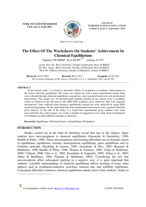 small resolution of PDF) The Effect Of The Worksheets On Students' Achievement In Chemical  Equilibrium