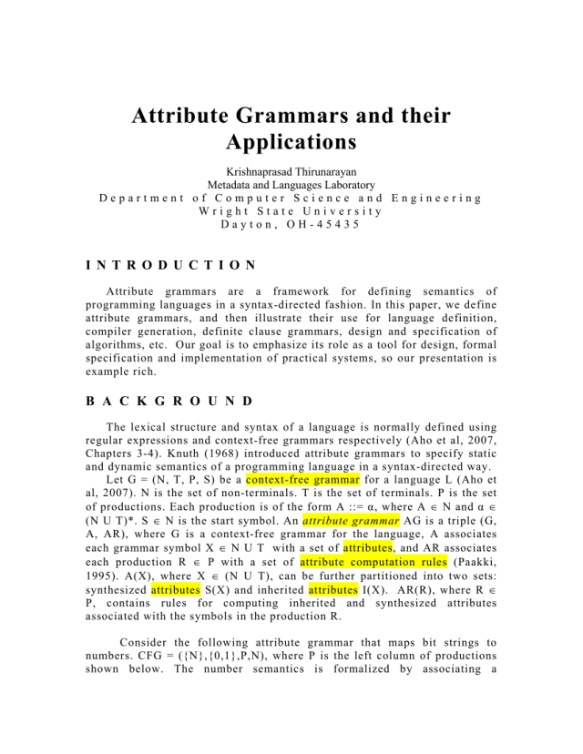 PDF) Attribute Grammars and Their Applications