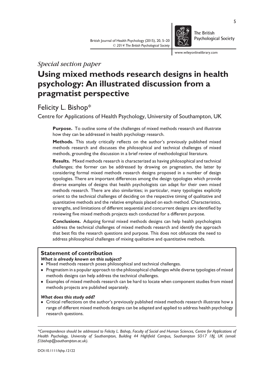 PDF Using Mixed Methods Research Designs In Health Psychology An