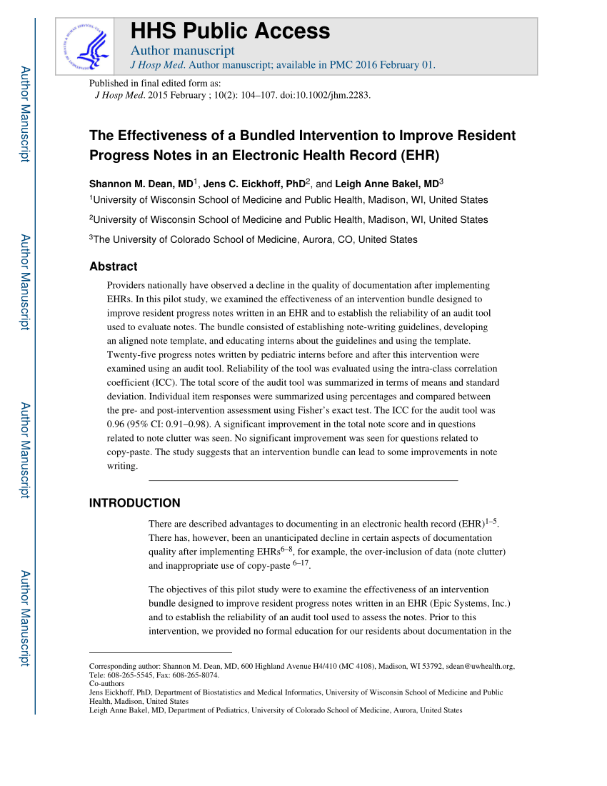 (Pdf) The Effectiveness Of A Bundled Intervention To Improve Resident Progress  Notes In An Electronic Health Record