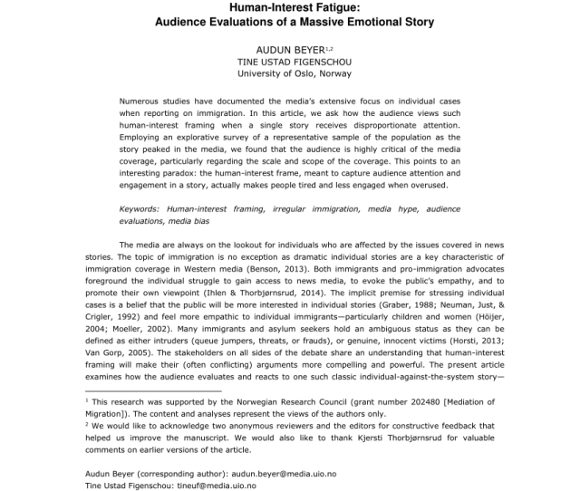 Pdf Human Interest Fatigue Audience Evaluations Of A Massive Emotional Story