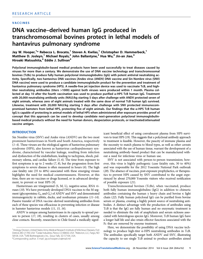 PDF) DNA vaccine-derived human IgG produced in transchromosomal ...