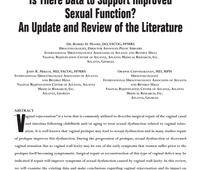 Pdf Vaginal Reconstruction Rejuvenation Is There Data To Support Improved Sexual Function An Update And Review Of The Literature