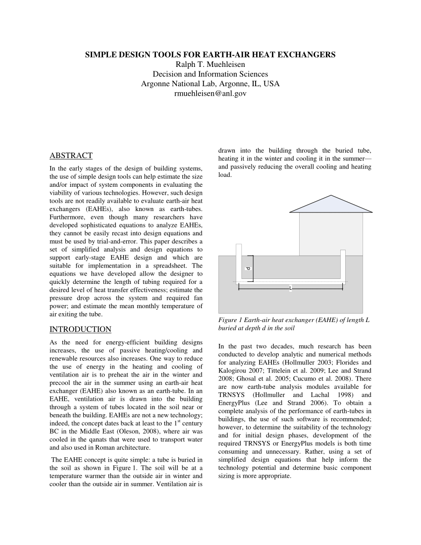 PDF) Simple Design Tools for Earth-Air Heat...