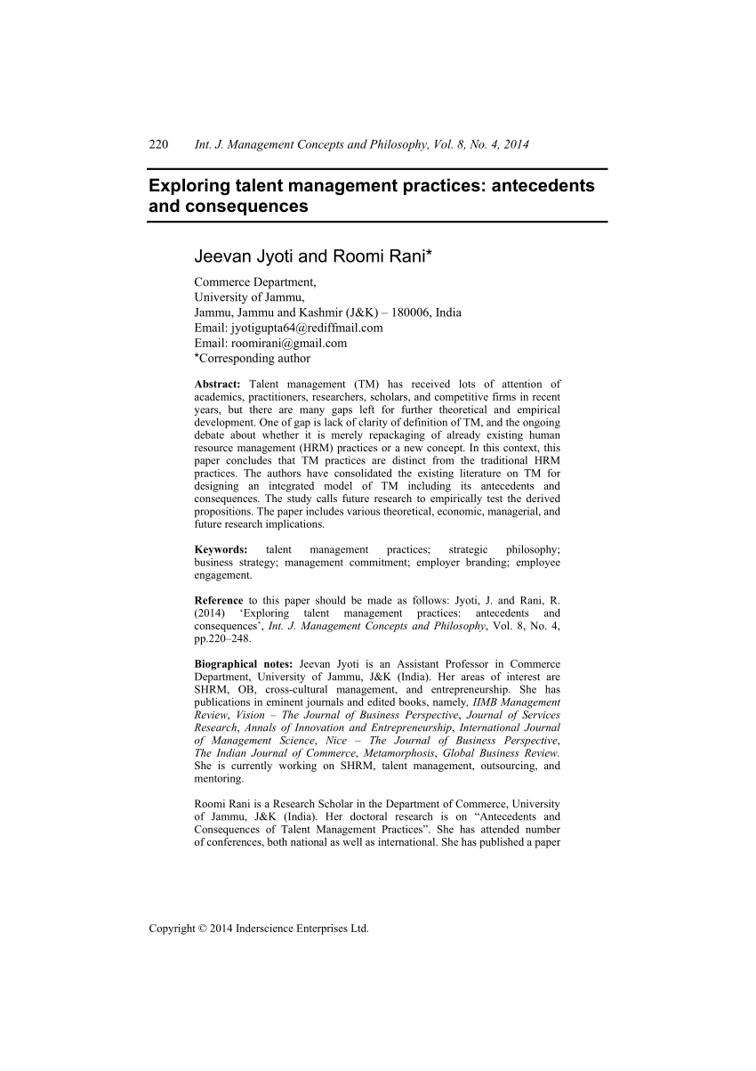 PDF Exploring Talent Management Practices Antecedents And Consequences