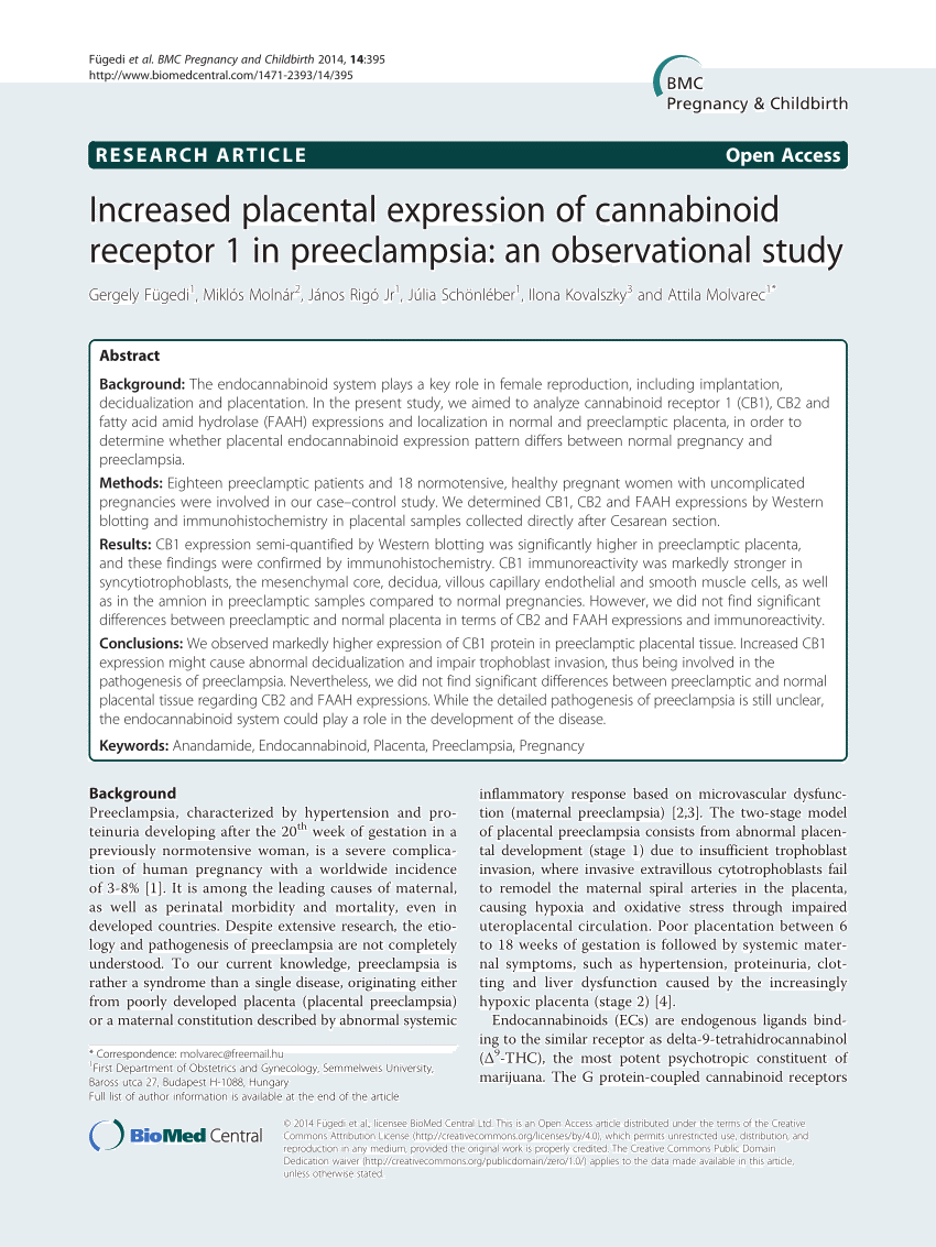 (PDF) Increased placental expression of cannabinoid