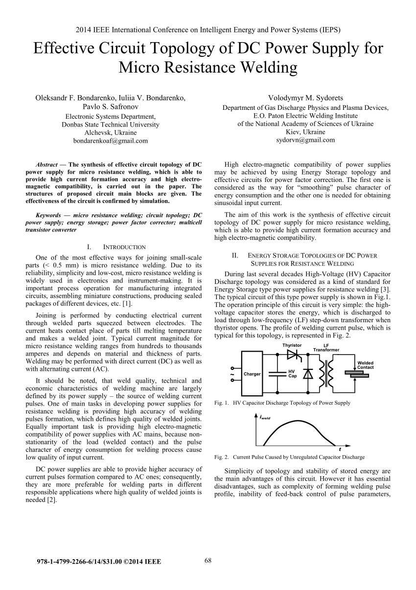 hight resolution of  pdf effective circuit topology of dc power supply for micro resistance welding
