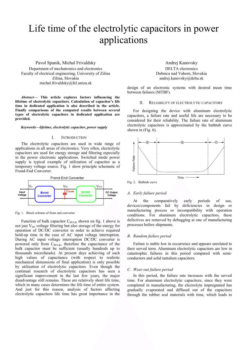 hight resolution of  pdf life time of the electrolytic capacitors in power applications