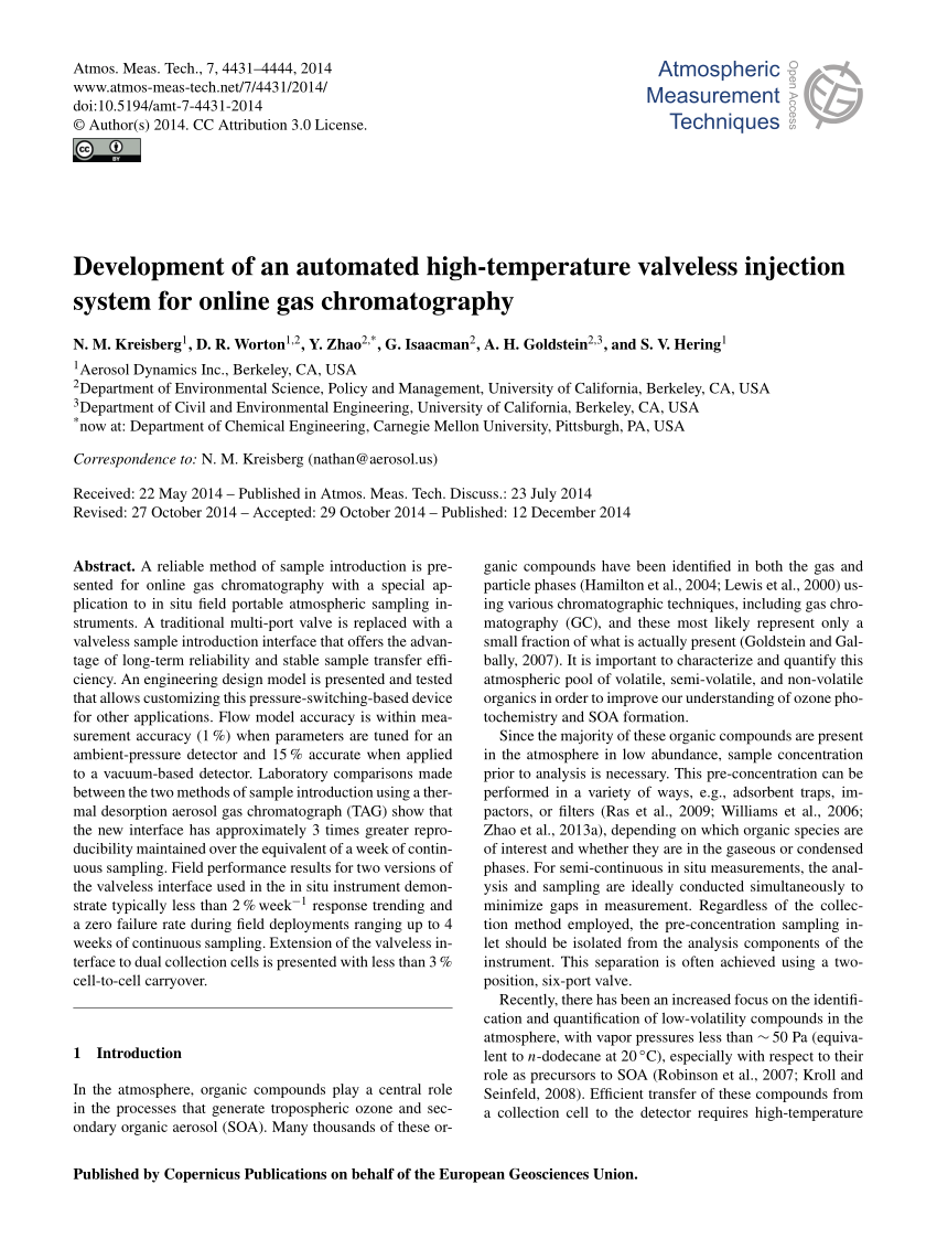 hight resolution of  pdf development of an automated high temperature valveless injection system for online gas chromatography