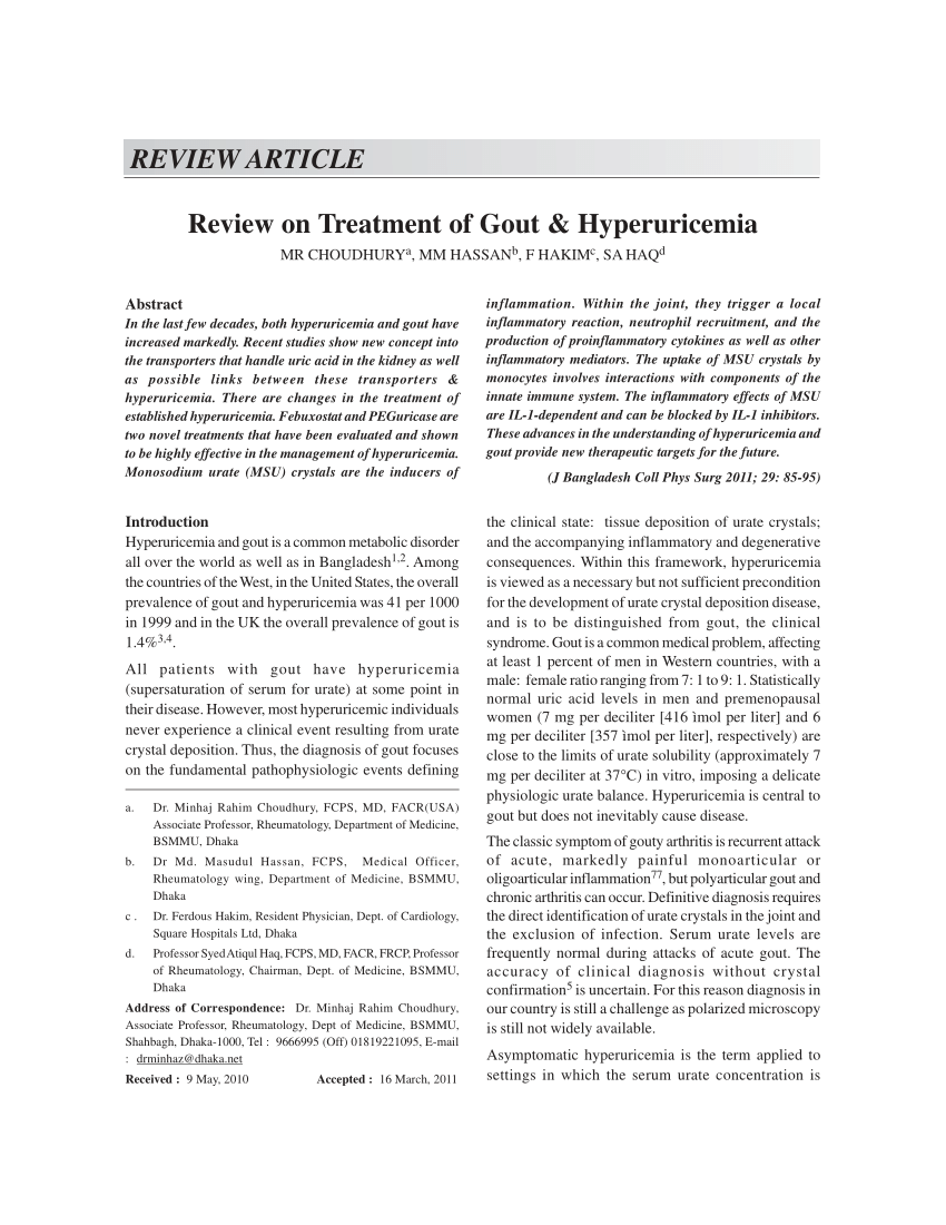 PDF Review On Treatment Of Gout & Hyperuricemia