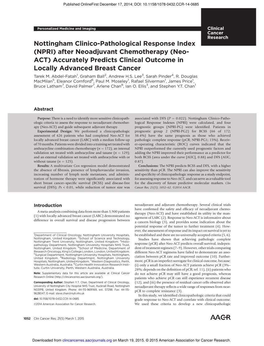 (PDF) Nottingham Clinico-Pathological Response Index (NPRI