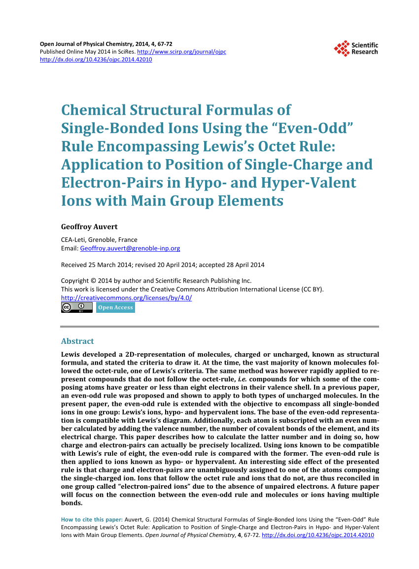 medium resolution of  pdf chemical structural formulas of single bonded ions using the even odd rule encompassing lewis s octet rule application to position of single charge