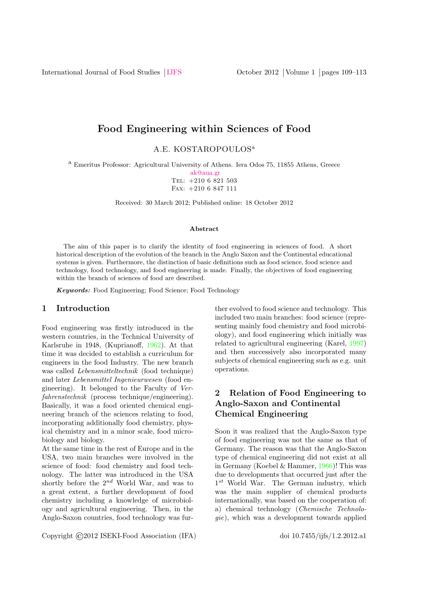 (PDF) Food Engineering within Sciences of Food