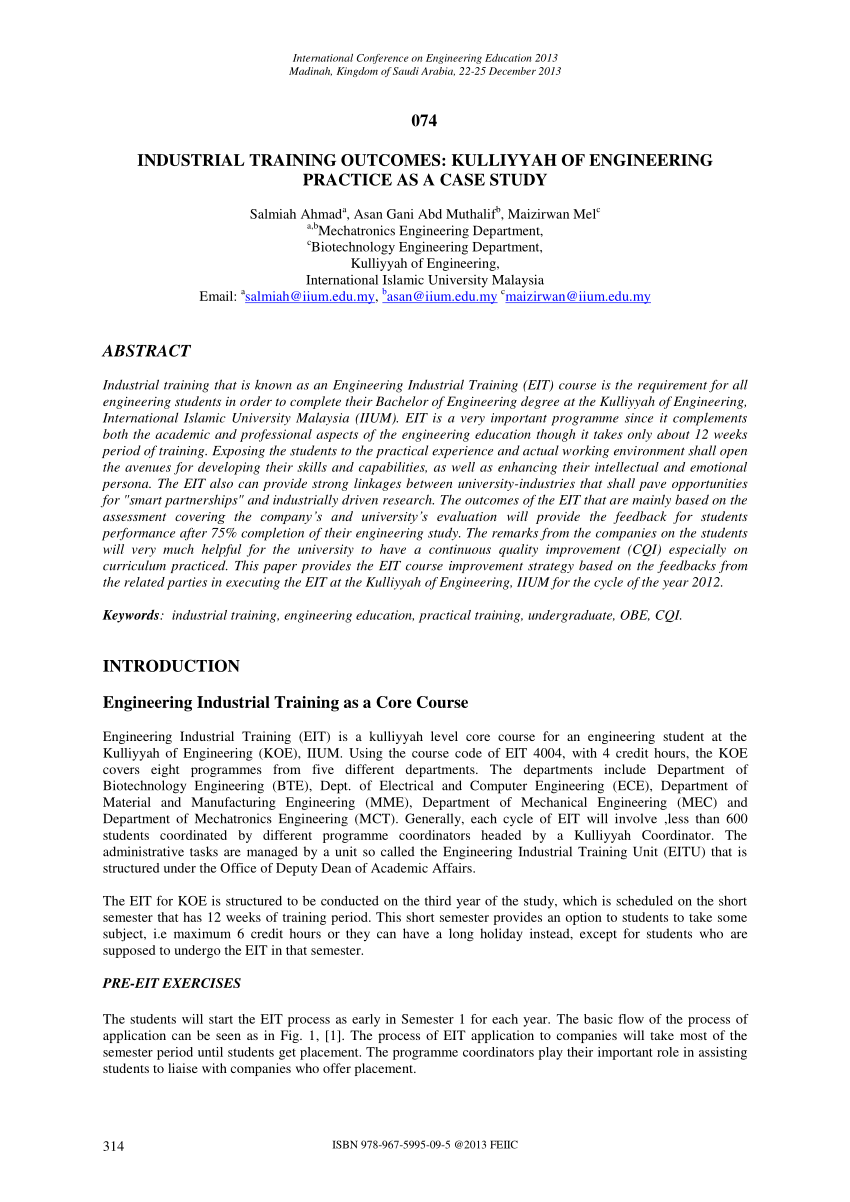 PDF INDUSTRIAL TRAINING OUTCOMES KULLIYYAH OF