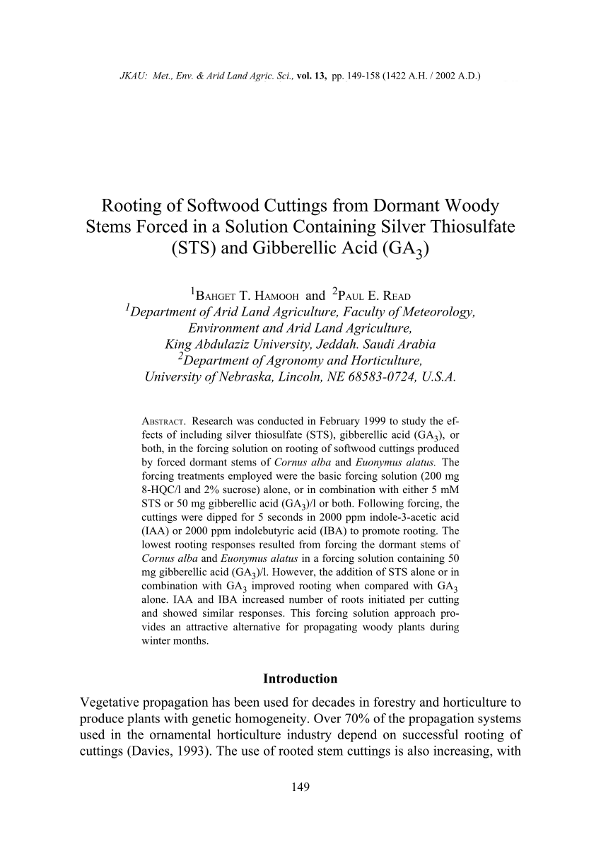 medium resolution of  pdf rooting of softwood cuttings from dormant woody stems forced in a solution containing silver thiosulfate sts and gibberellic acid ga3