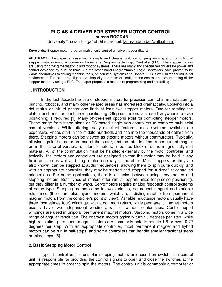 medium resolution of  pdf plc as a driver for stepper motor control
