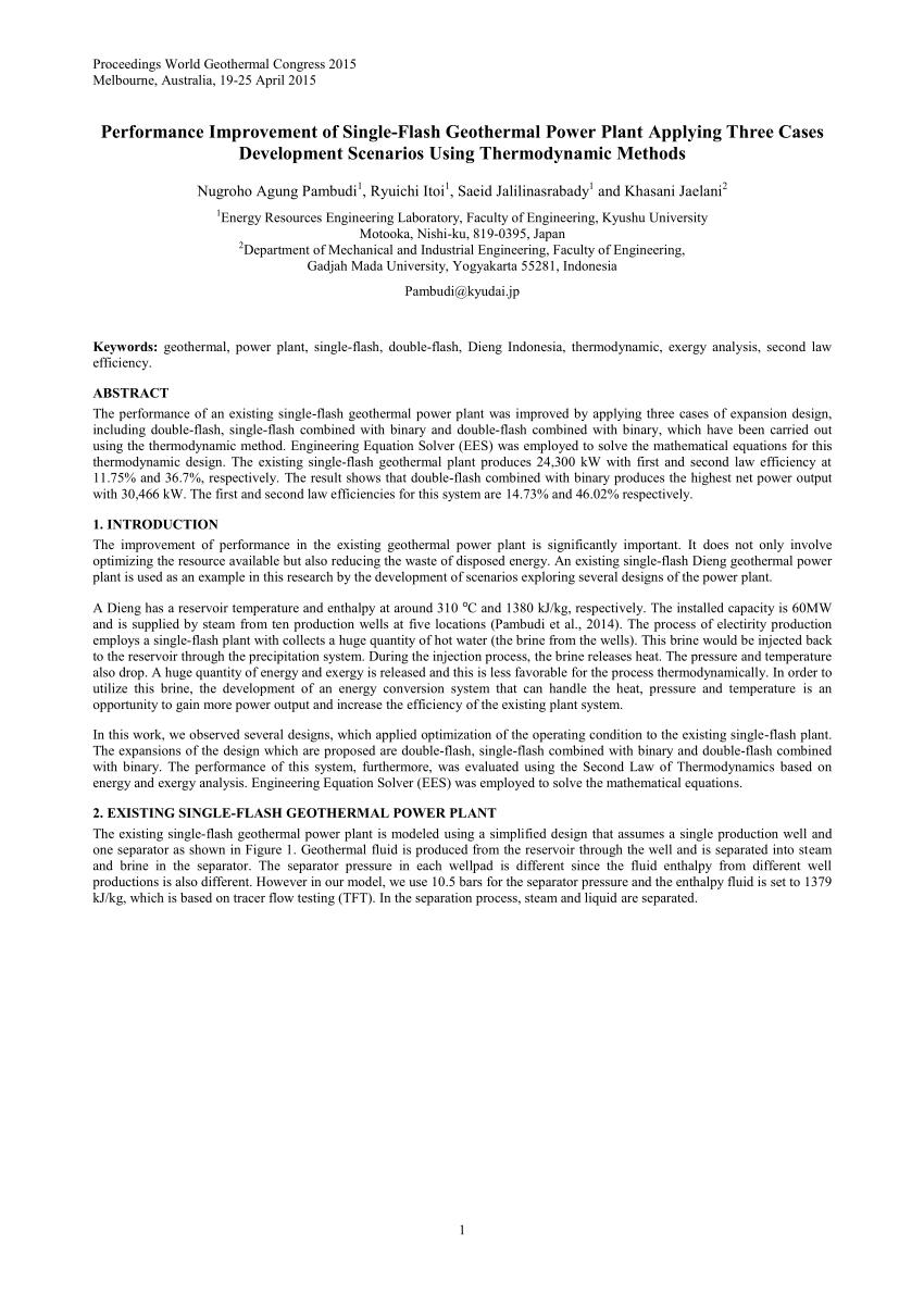PDF Performance Improvement Of Single Flash Geothermal Power Plant