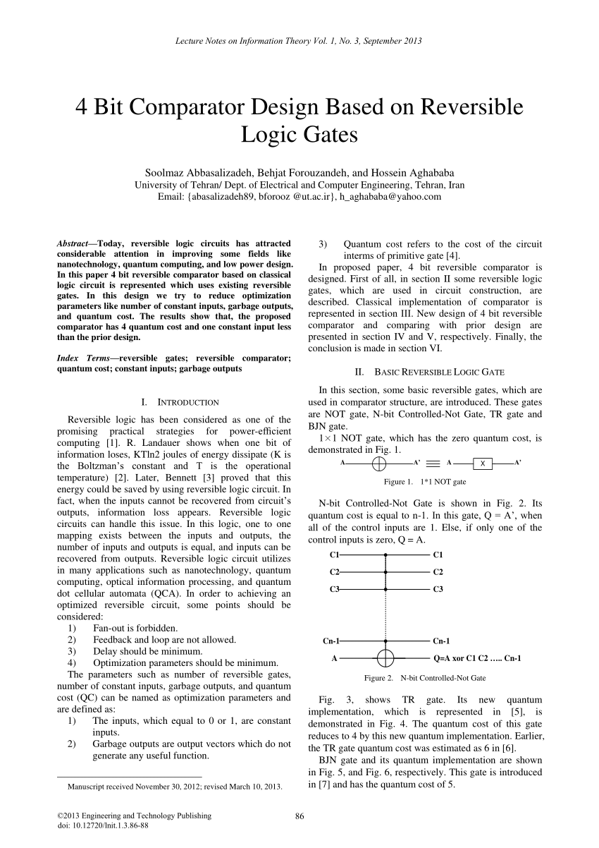 hight resolution of  pdf design and optimization of nanometric reversible 4 bit numerical comparator
