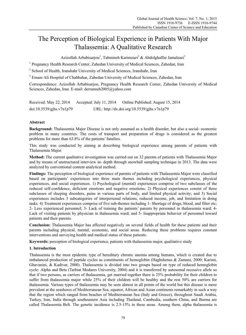 PDF The Perception Of Biological Experience In Patients With Major