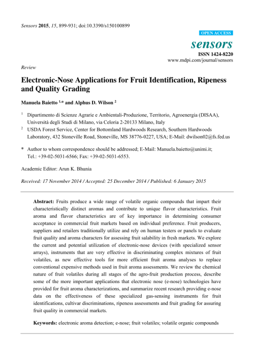 small resolution of  pdf evaluation of fruit ripeness using electronic nose