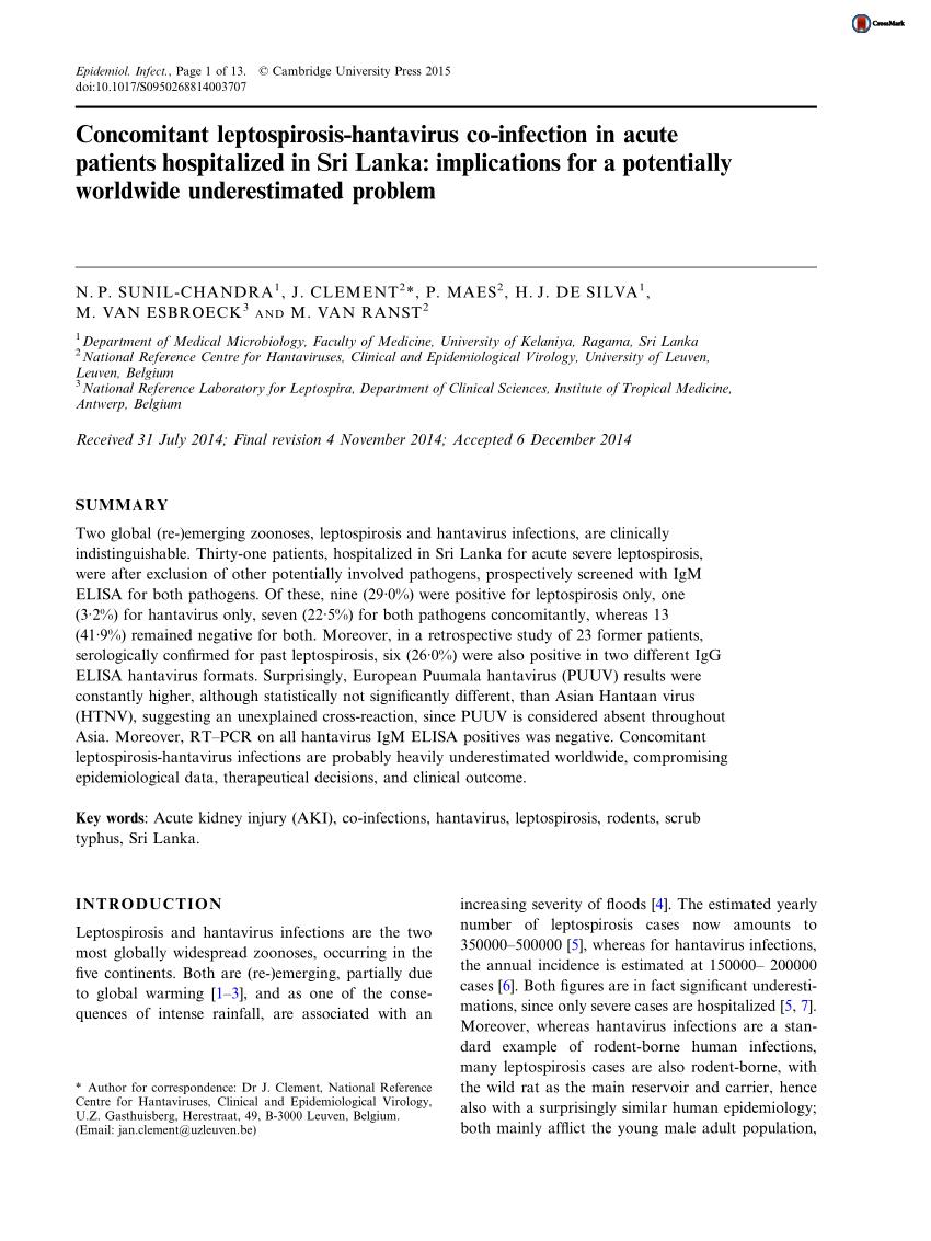 PDF) Concomitant leptospirosis-hantavirus co-infection in acute ...