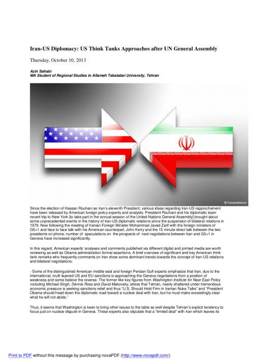 small resolution of  pdf iran us diplomacy us think tanks approaches after un general assembly