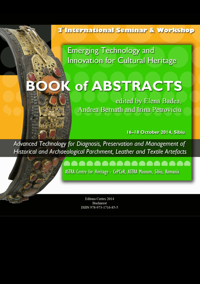 hight resolution of  pdf book of abstracts of the 3rd international seminar and workshop on emerging technology and innovation for cultural heritage advanced technology for