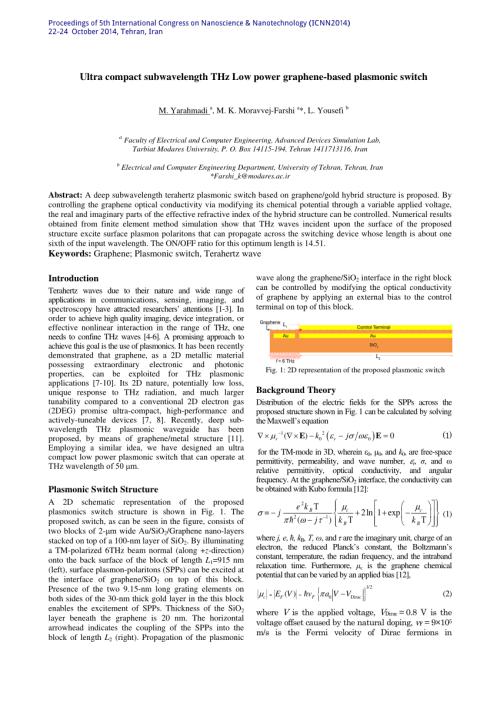 small resolution of subwavelength graphene based plasmonic thz switches and logic gates request pdf