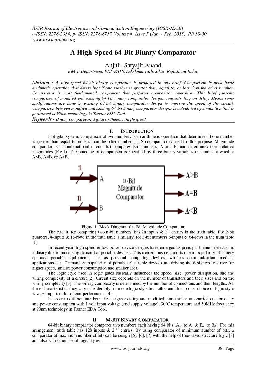 medium resolution of  pdf area and power efficient 4 bit comparator design by using 1 bit full adder module