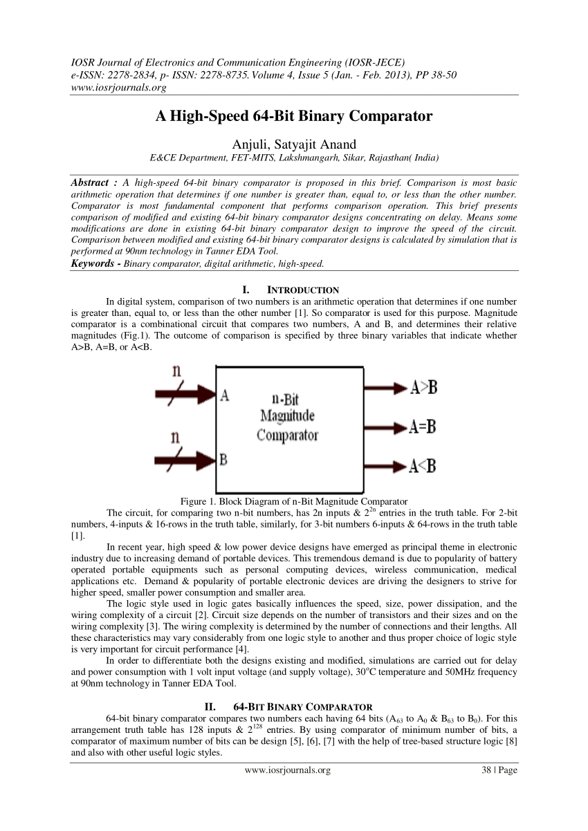hight resolution of  pdf area and power efficient 4 bit comparator design by using 1 bit full adder module