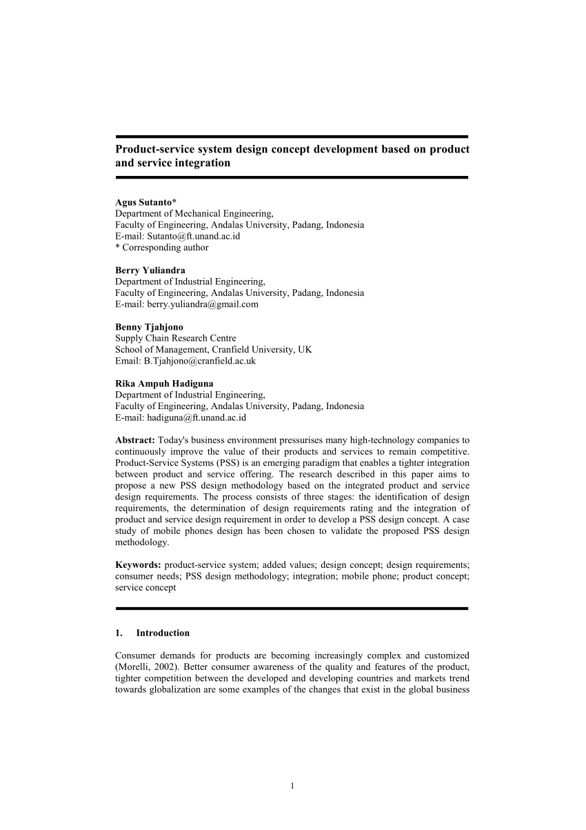 PDF Product Service System Design Concept Development