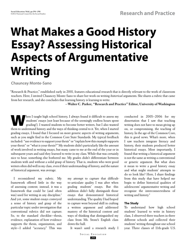 PDF) What Makes a Good History Essay? Assessing Historical Aspects