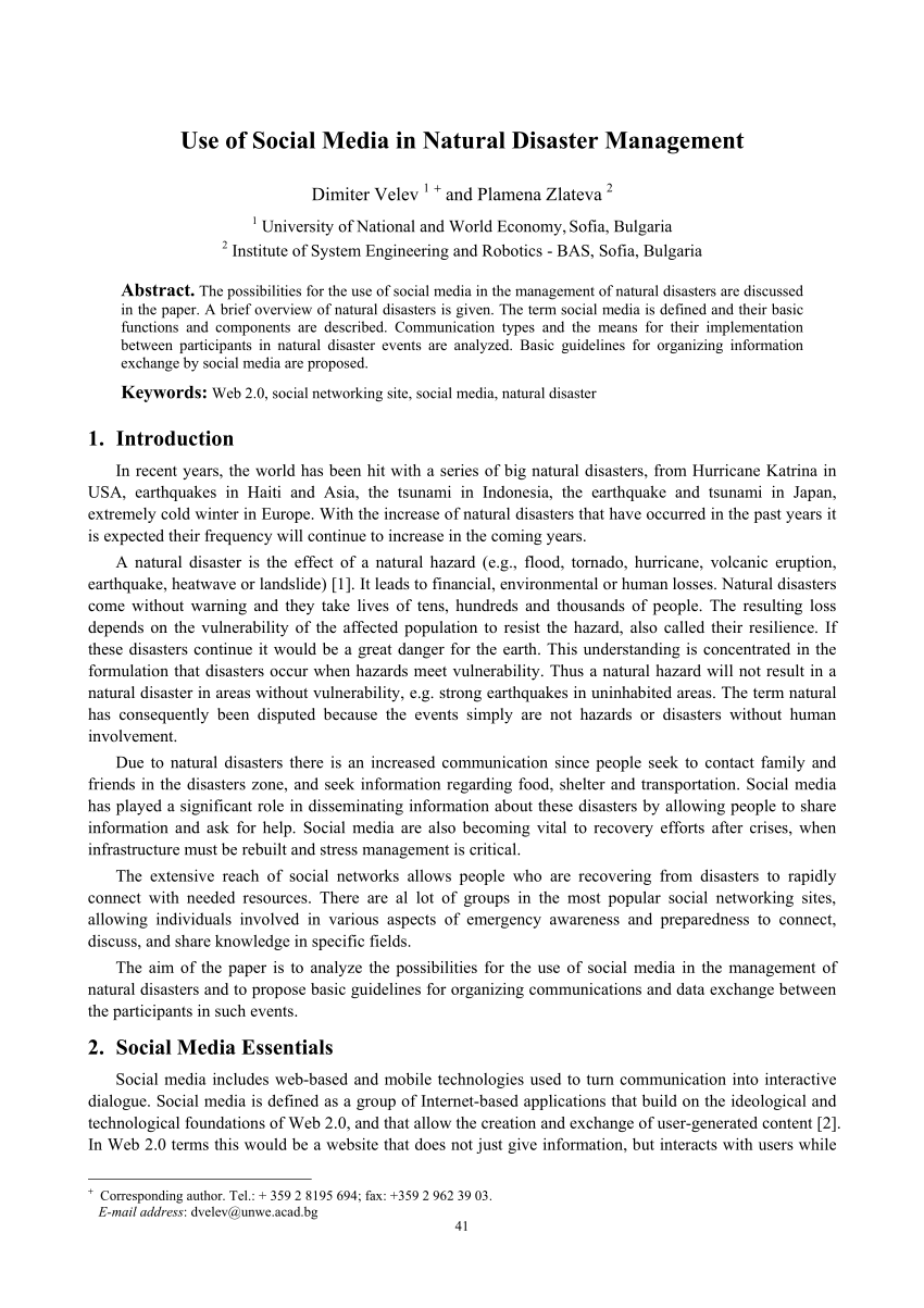 PDF Use Of Social Media In Natural Disaster Management