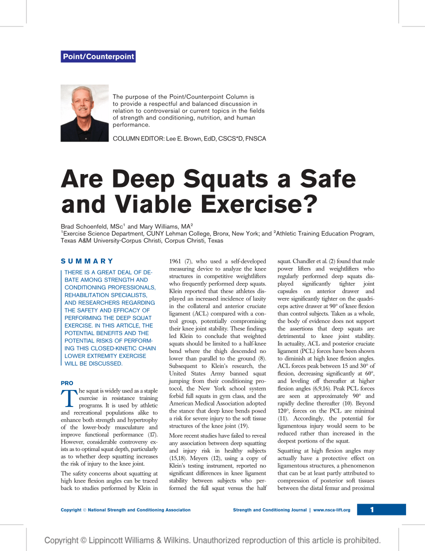 (PDF) Are Deep Squats a Safe and Viable Exercise?