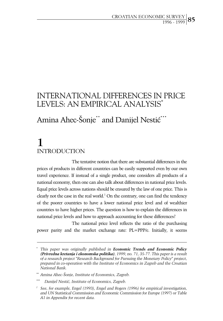 INTERNATIONAL DIFFERENCES IN PRICE PDF Download Available
