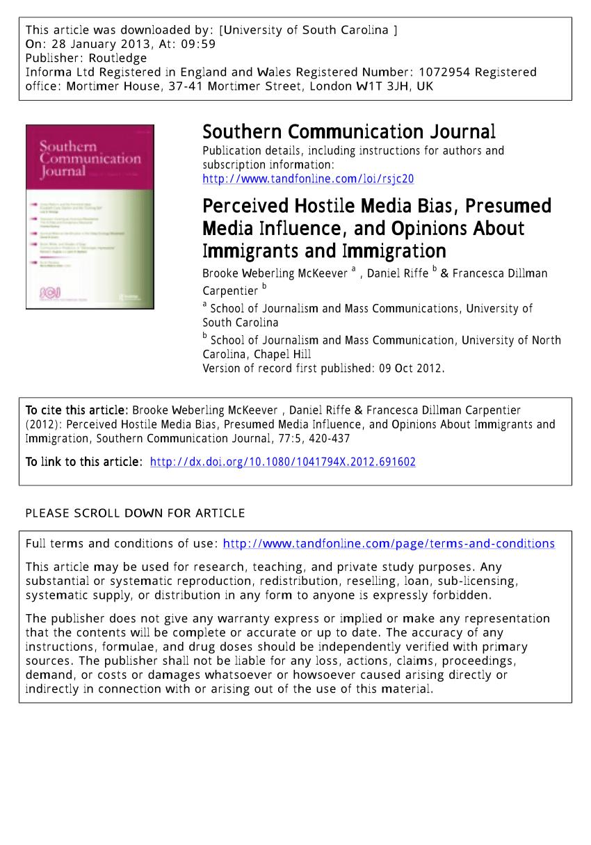 PDF) Perceived Hostile Media Bias, Presumed...