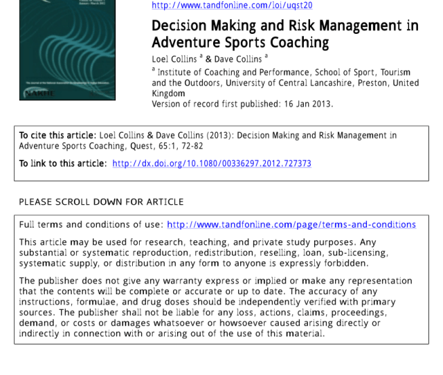 Pdf Decision Making And Risk Management In Adventure Sports Coaching