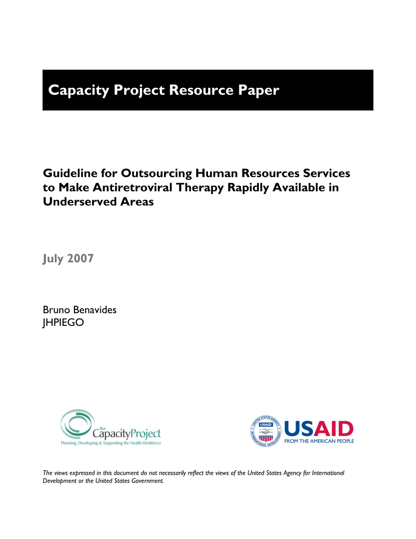 (PDF) Guideline for Outsourcing Human Resources Services to Make Antiretroviral Therapy Rapidly Available in Underserved Areas