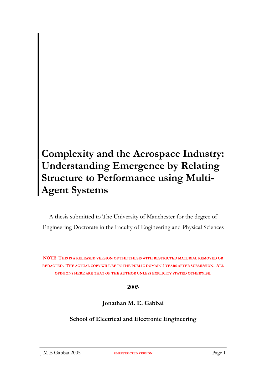 hight resolution of  pdf complexity and the aerospace industry understanding emergence by relating structure to performance using multi agent systems