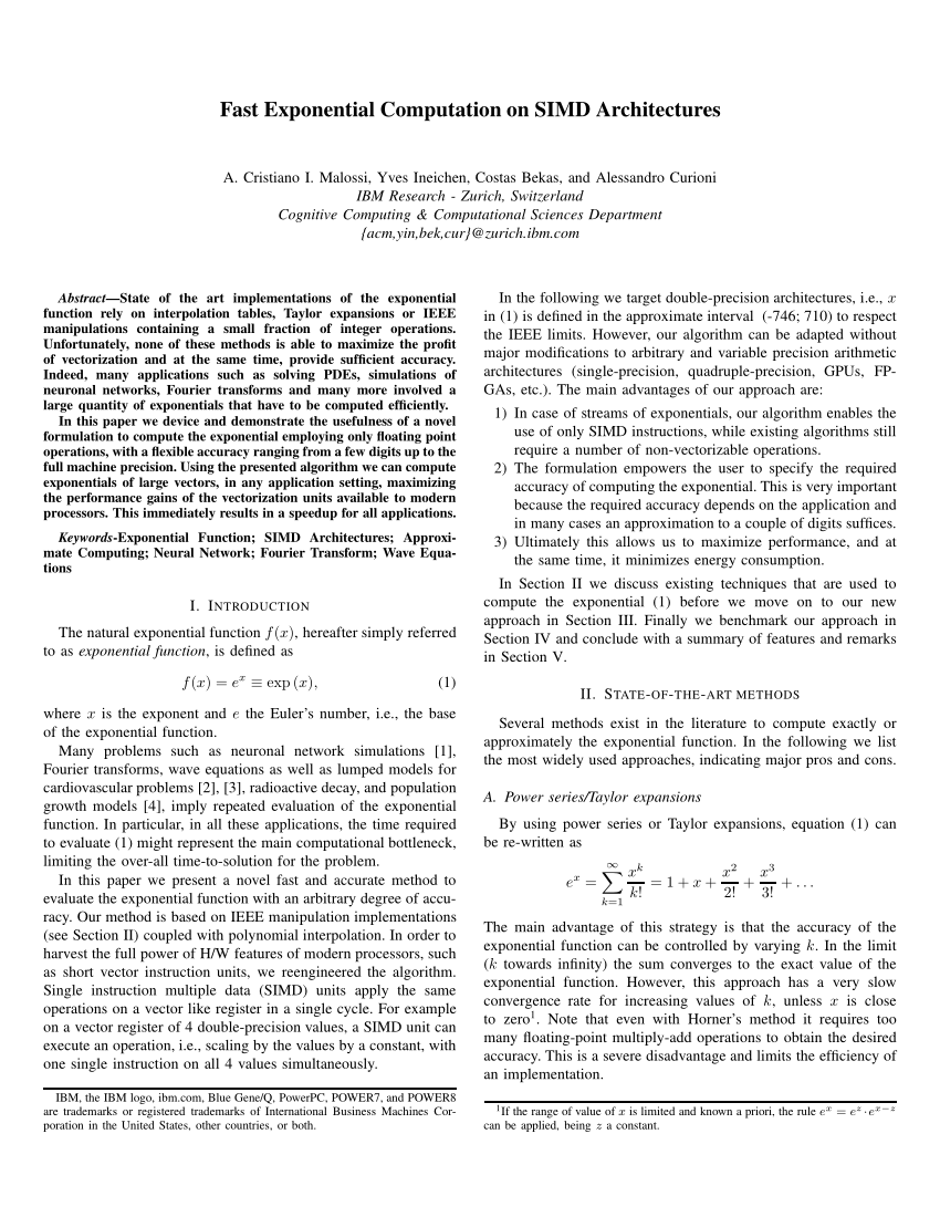 (PDF) Fast Exponential Computation on SIMD Architectures