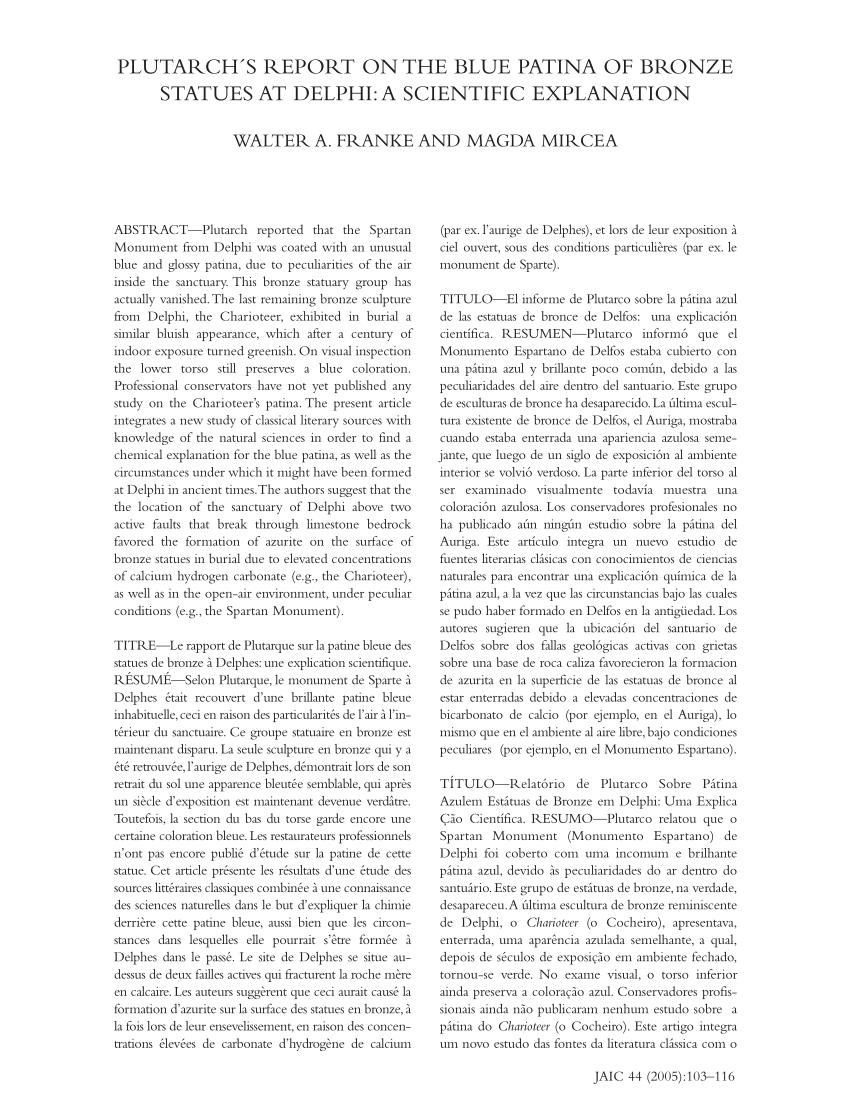 Ex L'habit Bleu Du Vent : l'habit, Plutarch's, Report, Patina, Bronze, Statues, Delphi:, Scientific, Explanation