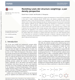 pdf revisiting lewis dot structures weightings a pair density perspective [ 850 x 1113 Pixel ]